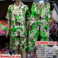 Piyama 3in1 baju tidur wanita Motif Bunga hijau katun jumbo XL