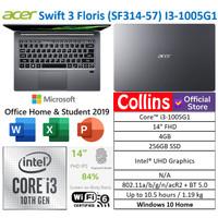 "LAPTOP ACER SWIFT 3 SF314 I3-1005G1 4GB SSD 256GB 14"" FHD IPS W10"