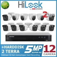 PAKET CCTV HILOOK 5MP 16 CHANNEL 12CAMERA HDD 2TB