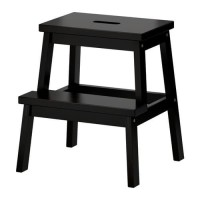 BEKVAM Bangku Tangga Hitam 2 Step Kayu Aspen Black Ikea Wooden Step