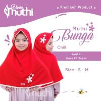 Jilbab Anak usia 9-13 Tahun SD-SMP Muthi Bunga Size M Bahan Super Adem