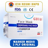 Masker Medis Gueqi 3 ply - ISI 50 - (BNPB, CE & FDA CERTIFIED)