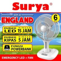 Kipas angin baterai + lampu emergency LED SURYA England