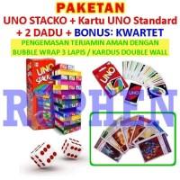Paket UNO Stacko + Kartu / Card + Dadu / Dice Mainan Balok Seru