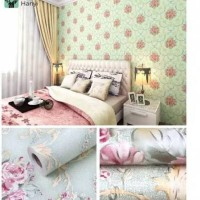 wallpaper dinding shaby tosca 45 cm x 10 m