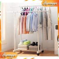 Rak Hanger Pakaian Double Gantungan Jemuran Baju dan Tempat Sepatu