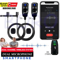 Shorush Dual Microphone Clip On Wireless UHF PRANK VLOG Smartphone HP