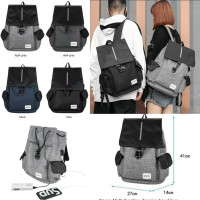 Korean Smart Backpack with USB port for charging / Tas Ransel Korea