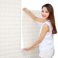 Wallpaper Brick Foam Dinding Bata 3D 70x77cm Wallpaper Busa-Putih Bata
