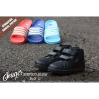 Sepatu Anak Sekolah Kanvas Ardiles JEAGER BERHADIAH SANDAL Sz 29 - 32 - 29, Hitam Abu