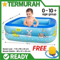 kolam renang anak luar outdoor mirip bestway swimming pool bayi - BIRU 110 cm