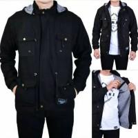 Jaket Parka Pria Kombinasi Premium - FULL BLACK, L