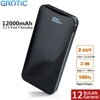 GROTIC Powerbank 12000mAh 2.1A Fast Charge Dual USB LED Power Display - Biru