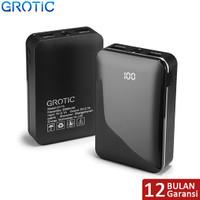 GROTIC 8000mah LED Powerbank GY15 Dual USB 2.1A Output Fast Charge - Hitam