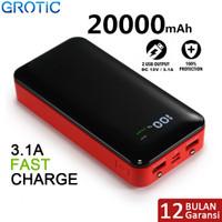 Powerbank GROTIC GYF20 20000mAh Fast Charging 3.1A Dual USB Power Bank - Merah