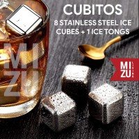 CUBITOS SET 8 Es Batu Anti-Lumer Stainless Steel Ice Cubes + 1 Capitan