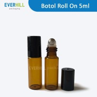 5ml botol roll on amber glass metal ball roller bottle essential oil