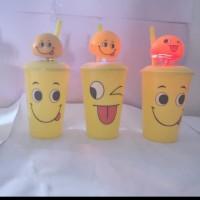 Gelas Mug Emoji Smile Tutup Kepala Per Goyang Lampu LED