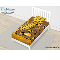 SPREI SINGLE CALIFORNIA FULL FITTED 120X200 YELLOW TRUCK
