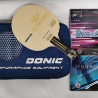 Bat Donic New Impuls 7.5 plus karet Donic lengkap cover bat Set