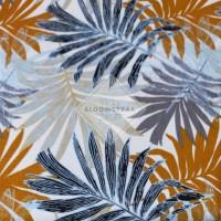 Kain Kanvas Palem Orange Blue canvas palm leaf Biru Orange bahan 0.5m