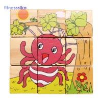Mainan Edukasi Puzzle Blok Kayu Gambar Kartun Here untuk Anak