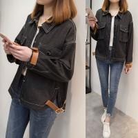 Jaket Denim Wanita Model Longgar Warna Hitam Ukuran Besar 4XL untuk