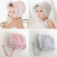 Girl Toddler Cotton Cap Princess Lace Flower Tether Hat