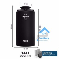 Toren Air MPOIN Plus 900 Liter TALL - tangki air anti lumut tando