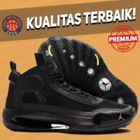 Sepatu Basket Sneakers Nike Air Jordan 34 High Triple Black Allblack