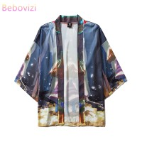Ins Fashion Comic Kimono Outer for Women Men Loose Harajuku Beach