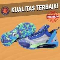Sepatu Basket Sneakers Nike Air Jordan 34 Low Sample Green Purple Blue