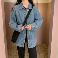 Jaket Denim Wanita Model Longgar Versi Korea dengan Saku Besar untuk