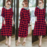 Long Dress Kotak Hoodie Risa