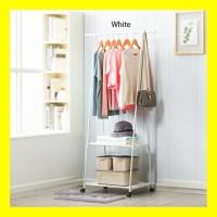 Stand Hanger Segitiga Triangle Rak Buku Pakaian Serbaguna 4 Roda - Cokelat