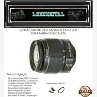 Lensa Canon EF-S 18-55MM F3.5 lll For Kamera DSLR Canon