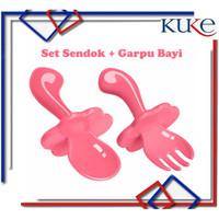 KUKE Set Sendok + Garpu Bayi Gagang Pendek Untuk Bayi