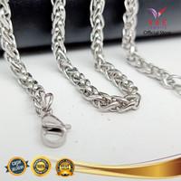 Kalung Titanium Asli Rajutan Emas Perak 70cm - VeE Kalung Pria Wanita