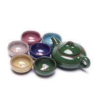 Ceramic Tea Set with Koi Fish / Chinese Tea Set / Teko dan Cangkir Teh - Green Mix