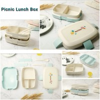 Picnic Lunch Box Double Layer 3 Compartments Bento Kids Leakproof