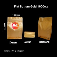 Kemasan Flat Bottom Alufoil Emas 1000 Gram Zipper