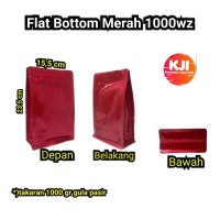 kemasan Flat Bottom Alufoil Merah 1000 Gram Zipper