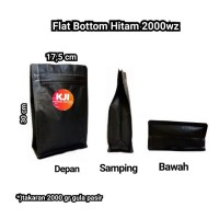 kemasan Flat Bottom Alufoil Hitam 2000 Gram Zipper