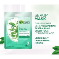 Garnier Masker Wajah - Masker Serum - Untuk Kulit Berminyak -Green Tea