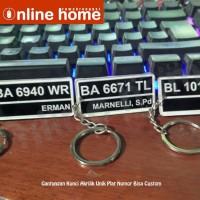 Gantungan Kunci Akrilik Unik Plat Nomor Bisa Custom