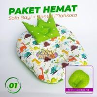 [PAKET HEMAT] Sofa Bayi dan Bantal Peyang Mahkota
