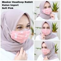 Masker Hijab Katun Rabbit Headloop - Merah Muda