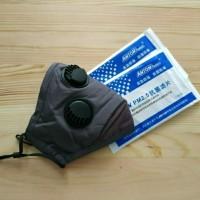 Masker PM 2.5 Triple Valve (3 Katup) Incld 2 Pcs Filter PM 2.5 - Grey