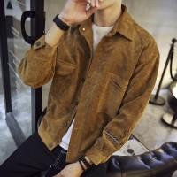 Jaket Pria Model Korea Slim dengan Bahan Corduroy untuk Musim Semi