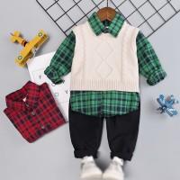 Set 3Pcs Kemeja Kotak-kotak+Vest Rompi Rajut+Celana Panjang Casual